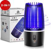 Professionele AyeWay 2 in 1 Muggenlamp - Draadloos – Oplaadbaar - 4000mAh ingebouwde Batterij - Muggenvanger – Insectenlamp– Muggenlamp UV