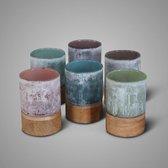 Brynxz Grijs glas met hout Set van 3 maten S - M - L