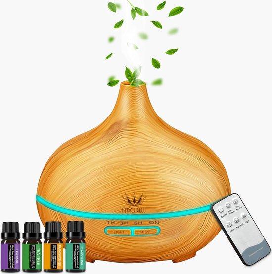Ferodelli® - Aroma Diffuser 500ML voor Aromatherapie - Geurverspreider - Incl. 4x Etherische Olie - Woodgrain Hout Design