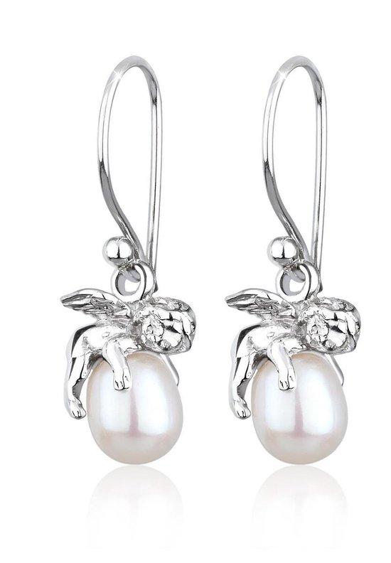Elli Dames Oorbellen Dames Guardian Angel Pendant Elegant met Zoetwater Gekweekte Parels in 925 Sterling Zilver