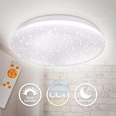 B.K.Licht - LED Plafondlamp - dimbaar - Sterrenhemel rond - CCT - kinderkamer lamp - nachtlichtfunctie - met afstandsbediening - 17 Watt
