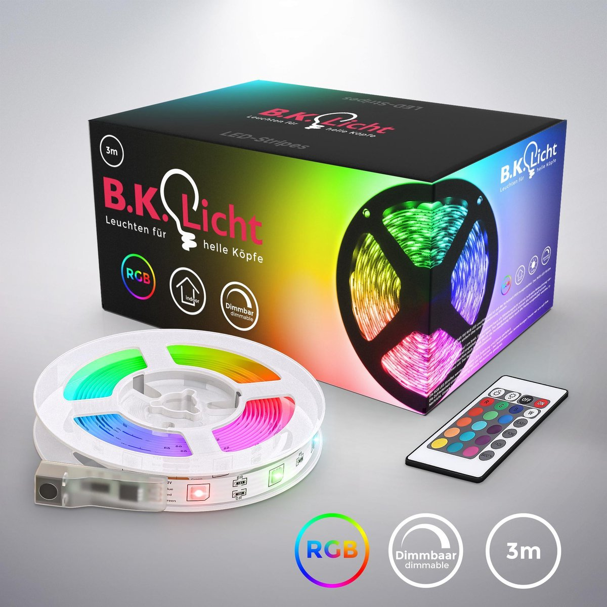 B.K.Licht - LED Strip - 3 meter - RGB - incl. afstandsbediening - incl. kleurverandering - zelfkleve