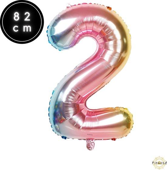 Cijfer Ballonnen - Cijfer Ballon Regenboog - Cijfer 2 Ballon - 82 cm Hoog - Ballonnen Verjaardag - Feestversiering - 21 Jaar - 25 Jaar - Fienosa
