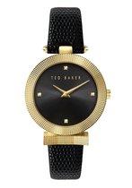 Ted Baker Bow Lizard - Dameshorloge - BKPBWF001- Goud - Zwart - Swarovski - 36 MM - Lederen horlogeband - Gesp horlogesluiting