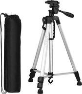 Professioneel Universeel Camera Statief Met waterpas, Handgreep en Hendel Incl. Bluetooth Remote Shutter, Telefoonhouder en Opbergtas – Statief Zilver