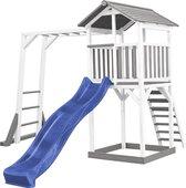 AXI Beach Tower Speeltoren met Klimrek Grijs/wit - Blauwe Glijbaan - Zandbak - FSC Hout