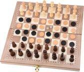 3 in 1 Schaakbord | Dambord | Backgammon | 29 x 29 cm | Hout | Schaakspel | Schaakset | Schaakbord met Schaakstukken | Damspel | Damstenen | Backgammon koffer | Opklapbaar | Opvouwbaar | Kinderen en Volwassen | Reiseditie