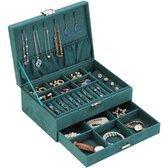 Luxe sieradendoos van ATV PERFECTUM - Juwelen doos voor sieraden (ring, ketting, oorbellen, horloge) - Dames bijouterie doos - Groen