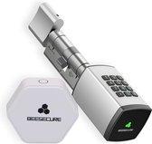 BeeSecure P1 en Hub| Smart Lock  Pack | BEE-LOCK P1 Pack | Euro profielcilinder | Codeslot en Wifi | Elektronische deur | 35-35 mm | Zilver