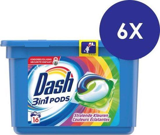 Dash - Wasmiddel - All in 1 pods - Stralende kleuren - 6 x 16 (96 ) waspods