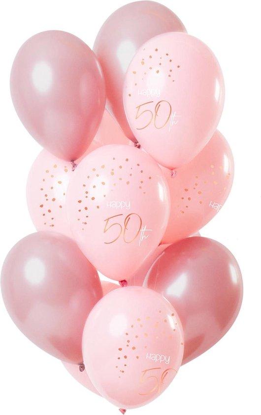 Ballonnen - 50 jaar - Luxe - Roze, roségoud - 30cm - 12st