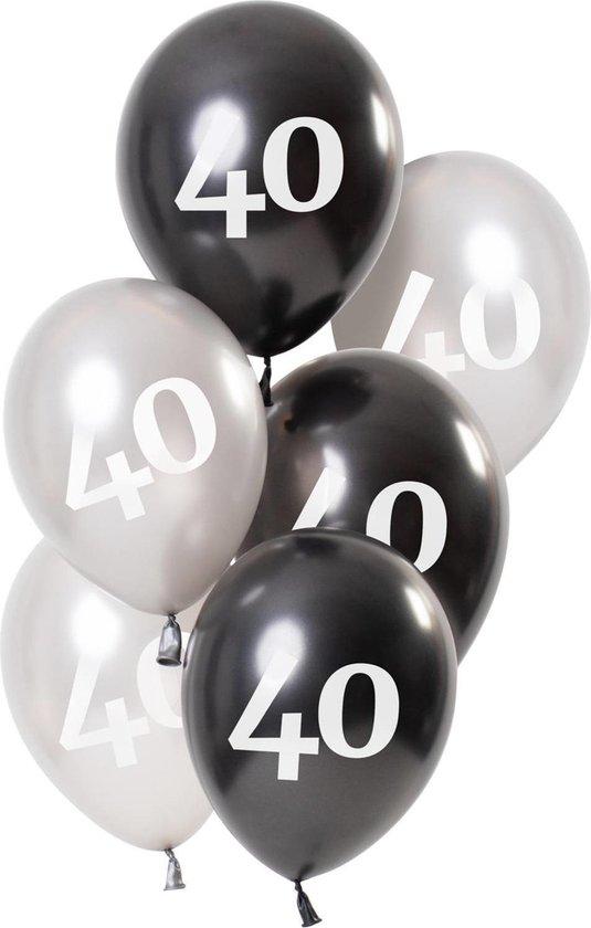 Ballonnen 40 Jaar Zwart 23cm 6st