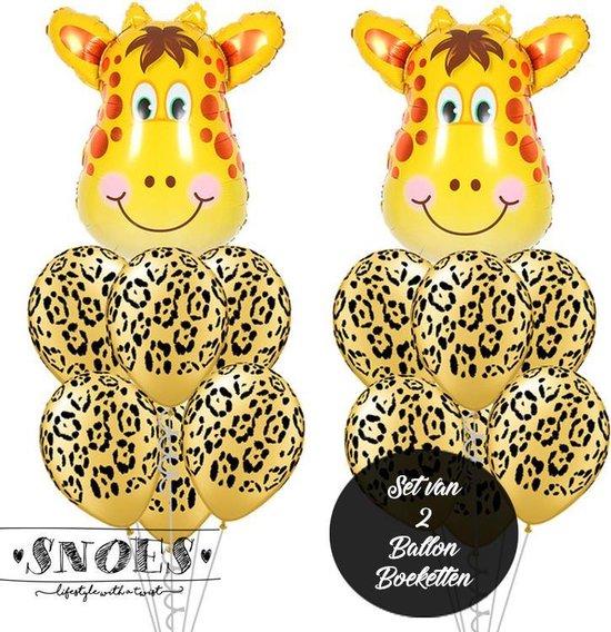 Snoes * Jungle Thema Ballon Boeketten Set van 2 Giraffe Safari Verjaardag Folie en Latex ballonnen