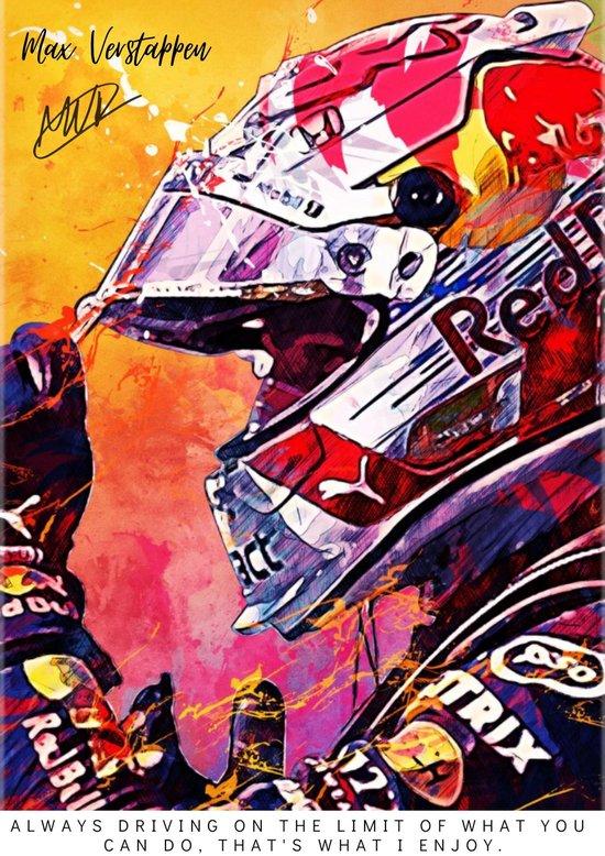 Poster Max Verstappen   Formule 1   F1   Red Bull racing   Auto Kunst   A2   60x42   Hoogwaardig glans   Geschikt om in te lijsten