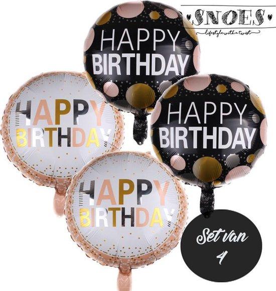 Happy Birthday * Set van 4 Ballonnen * Glitter & Glamour * Black & Gold * Dots * Stippen *  Verjaardag ballon set * Gelukkige verjaardag * Gefeliciteerd