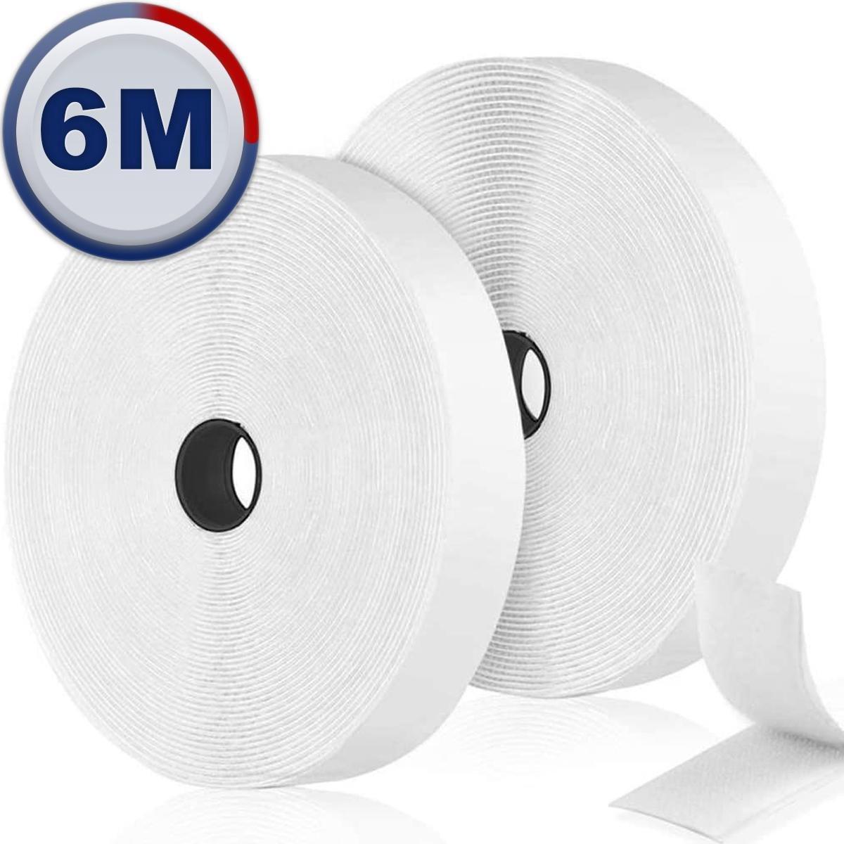 AWEMOZ  Klittenband Zelfklevend - Witte Velcro - Klussen - 2 x 6 m Velcro Tape - 2 cm breed