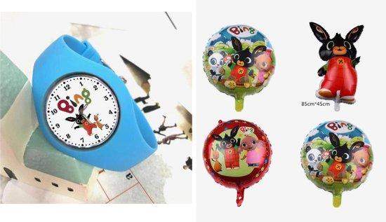 Bing horloge blauw inclusief 4 folie ballonnen, feestpakket, verjaardag, kado
