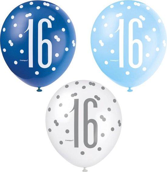 Ballonnen 16 Jaar Stippen Blauw 30cm 6st