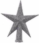Kerstpieken zilver glitter 12 cm - voor mini boompjes - Kerstboomversiering zilver