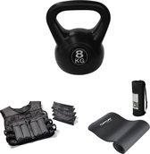 Tunturi - Workout Set - Fitnessmat - Gewichtvest 10 kg - Kettlebel 8 kg