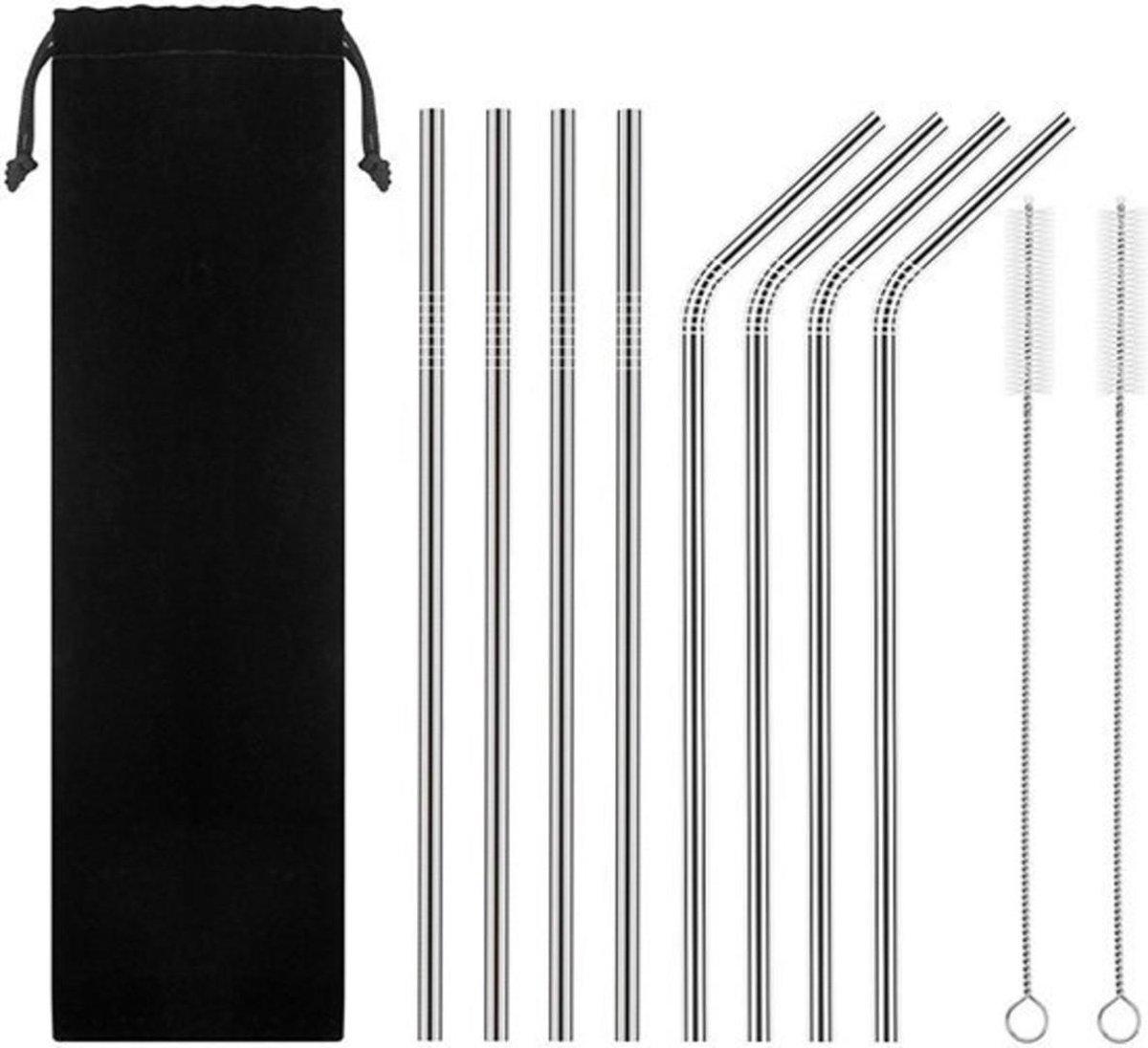 RVS rietjes - Set van 8 herbruikbare rietjes - 4 recht 4 gebogen - 21 cm - Duurzaam en stijlvol - In