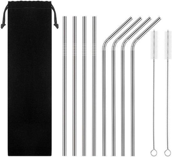 RVS rietjes - Set van 8 herbruikbare rietjes - 4 recht 4 gebogen - 21 cm - Duurzaam en stijlvol - Incl 2 schoonmaakborstels en bewaarzak