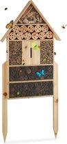 relaxdays insectenhotel XL - bijenhotel - insectenhuis - vlinders - groot - staand - hout