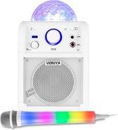 Karaoke set kinderen - Vonyx SBS50W karaokeset op accu met Bluetooth, LED karaoke microfoon, echo effect en LED lichteffect - Wit