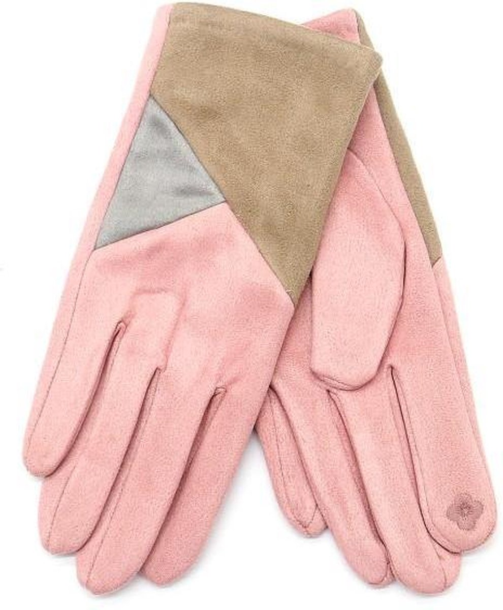 Handschoenen - Handschoenen Dames   - Handschoenen Winter  - Handschoen met Touchscreen Tip - Luxe handschoen roze beige  - One Size