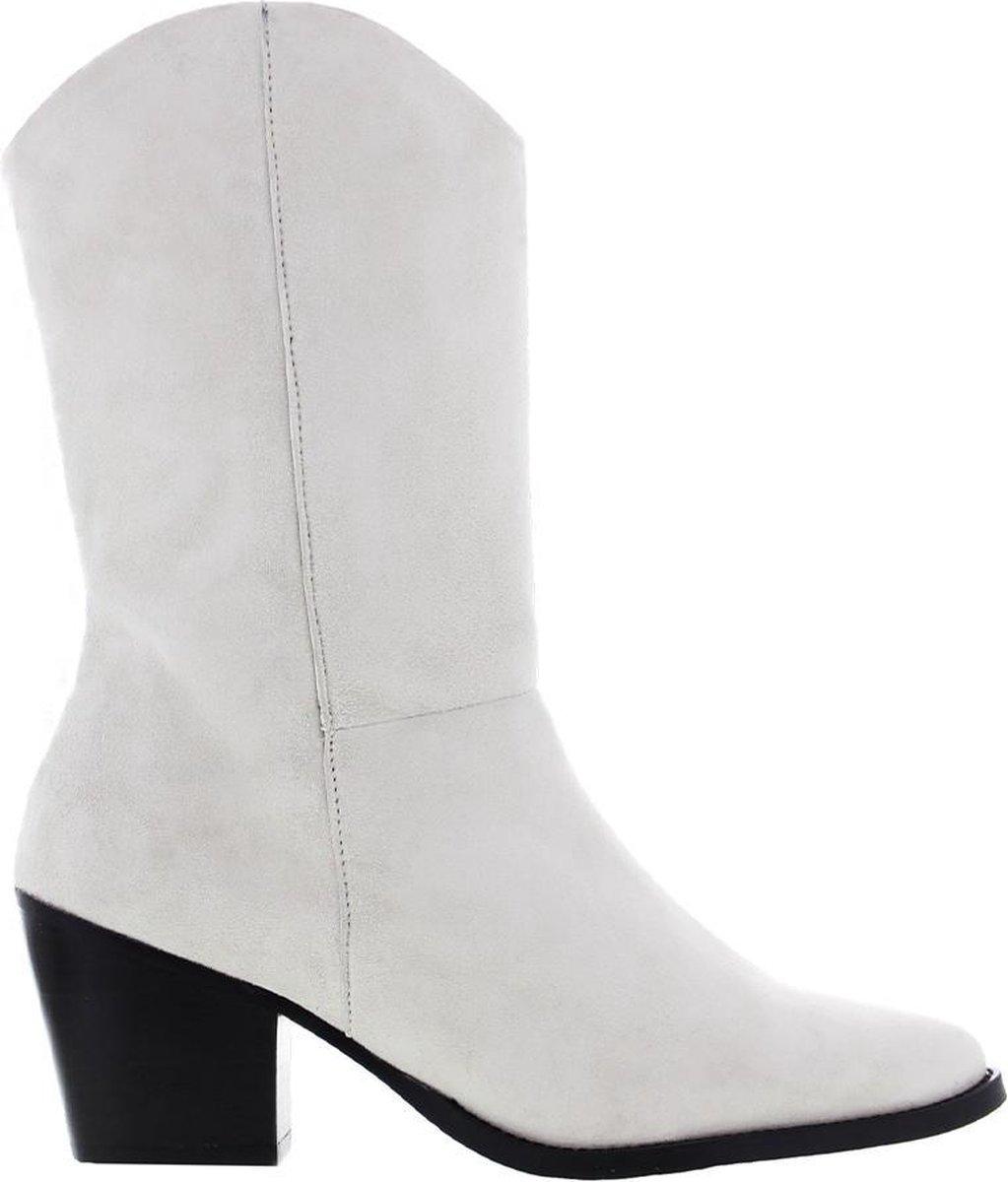 Tango | Ella square 12-e bone white kid suede boot - black heel | Maat: 37