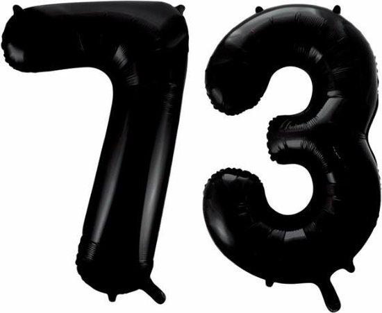 Folieballon 73 jaar zwart 86cm