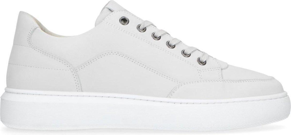 Manfield - Heren - Witte nubuck sneakers - Maat 44