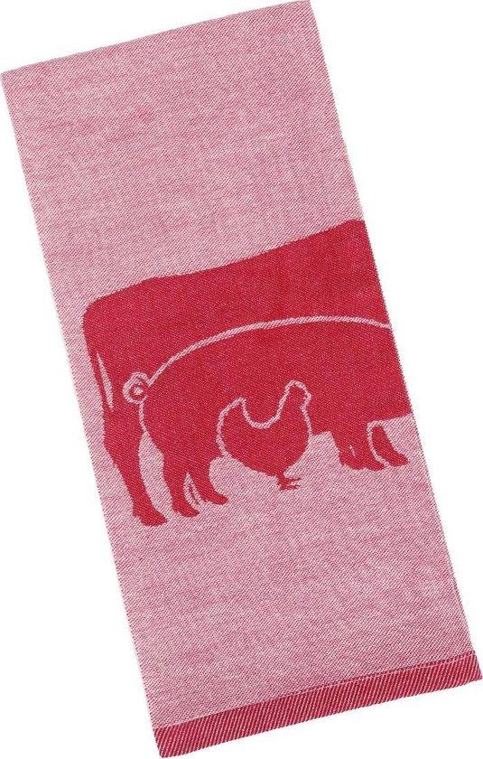 Clarysse Theedoeken Farm Animals 6 stuks-Rood