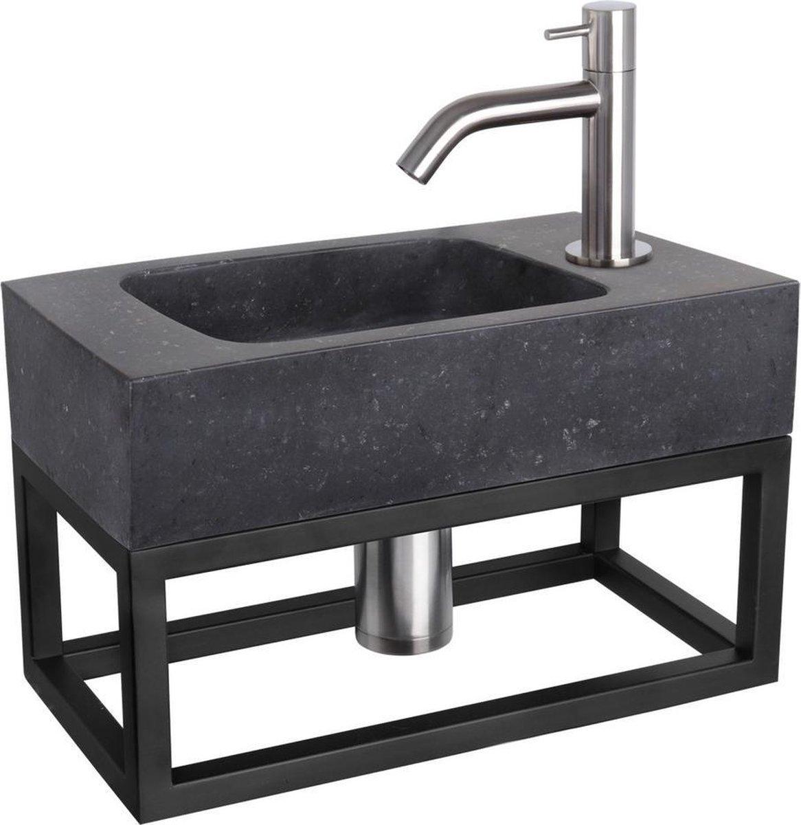 Differnz Fonteinset Bombai black - Natuursteen - Kraan gebogen mat chroom - Met handdoekrek - 40 x 22 x 9 cm