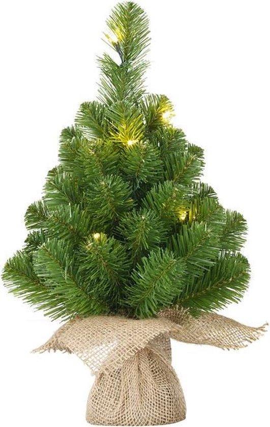 Mini kunstkerstboom jute zak 30cm+ licht