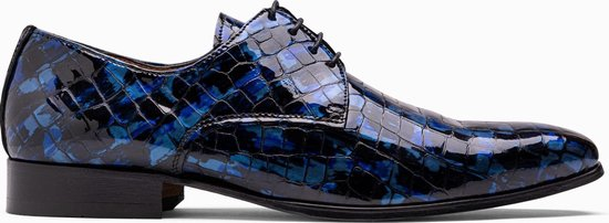 Paulo Bellini Dress Shoe Carbonia Croco Lack Blue