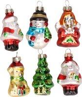 Set van 6 stuks kersthangers figuurtjes van glas 5 cm type 2 - Kerstboomversiering kerstornamenten