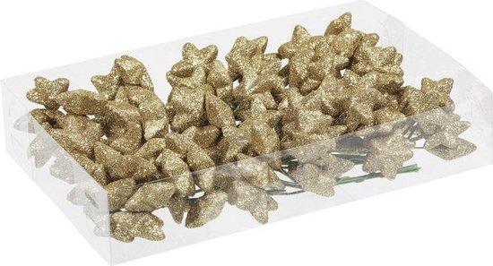 108x Gouden glitter mini sterretjes stekers kunststof 4 cm - Kerststukje maken onderdelen
