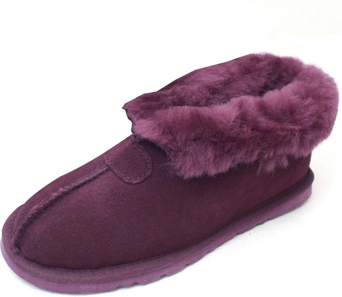 Eastern Counties Leather Vrouwen/dames Schapenhuid Gevoerde Gespleten Naad Slipper Laarzen (Pruim)