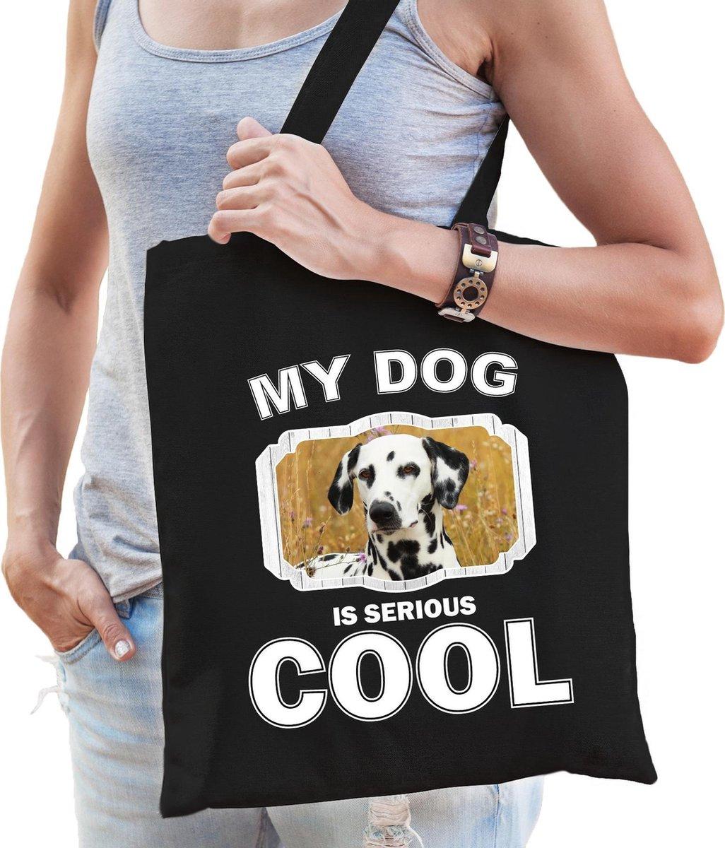 Dieren Dalmatiers tasje katoen volw + kind zwart - my dog is serious cool kado boodschappentas/ gymtas / sporttas - honden / hond kopen