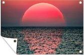 Zonsondergang in de zee tuinposter los doek 120x80 cm - Tuindoek / Buitencanvas / Schilderijen voor buiten (tuin decoratie)