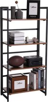 Boekenkast - Inklapbaar / Opvouwbaar - 60 x 125.5 cm – Zwart Metaal en Rustiek Bruin Hout