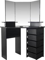 Hoek kaptafel - make up visagie opmaaktafel - toilettafel - 3 spiegels - zwart