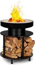 Wood Stock 2-in-1 vuurschaal BBQ grill Ø56cm rvs zwart