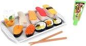 Speelgoed Sushi' -eetstokjes+dienblad+saus
