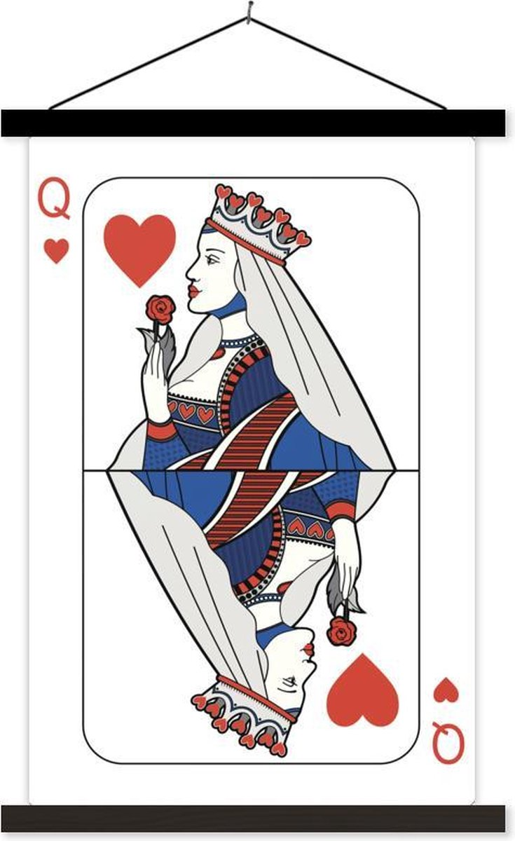 Rood met blauwe illustratie van een harten koningin textielposter latten zwart 40x60 cm - Foto print op schoolplaat (wanddecoratie woonkamer/slaapkamer)