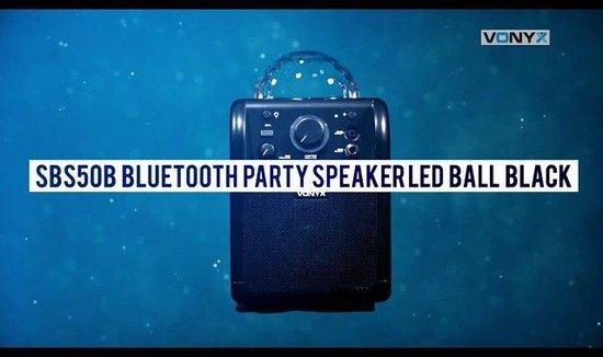 Karaoke set - Vonyx SBS50B Zwarte karaoke set op accu met Bluetooth, microfoon met echo effect en LED lichteffect - Direct zingen of feesten!