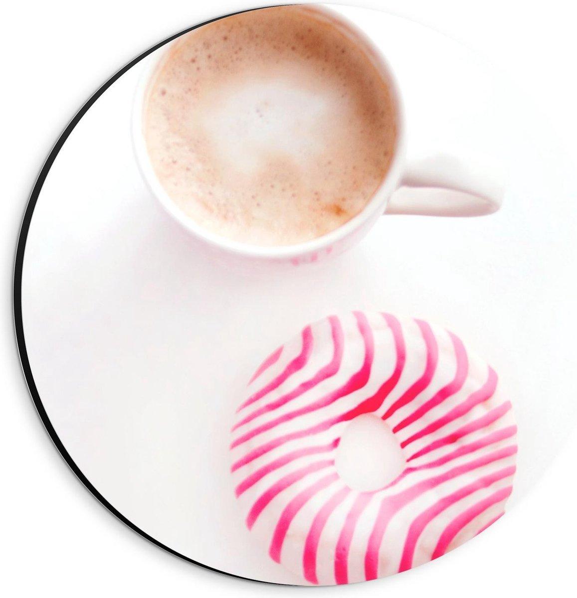 Dibond Wandcirkel - Kop Koffie met Donut - 20x20cm Foto op Aluminium Wandcirkel (met ophangsysteem)