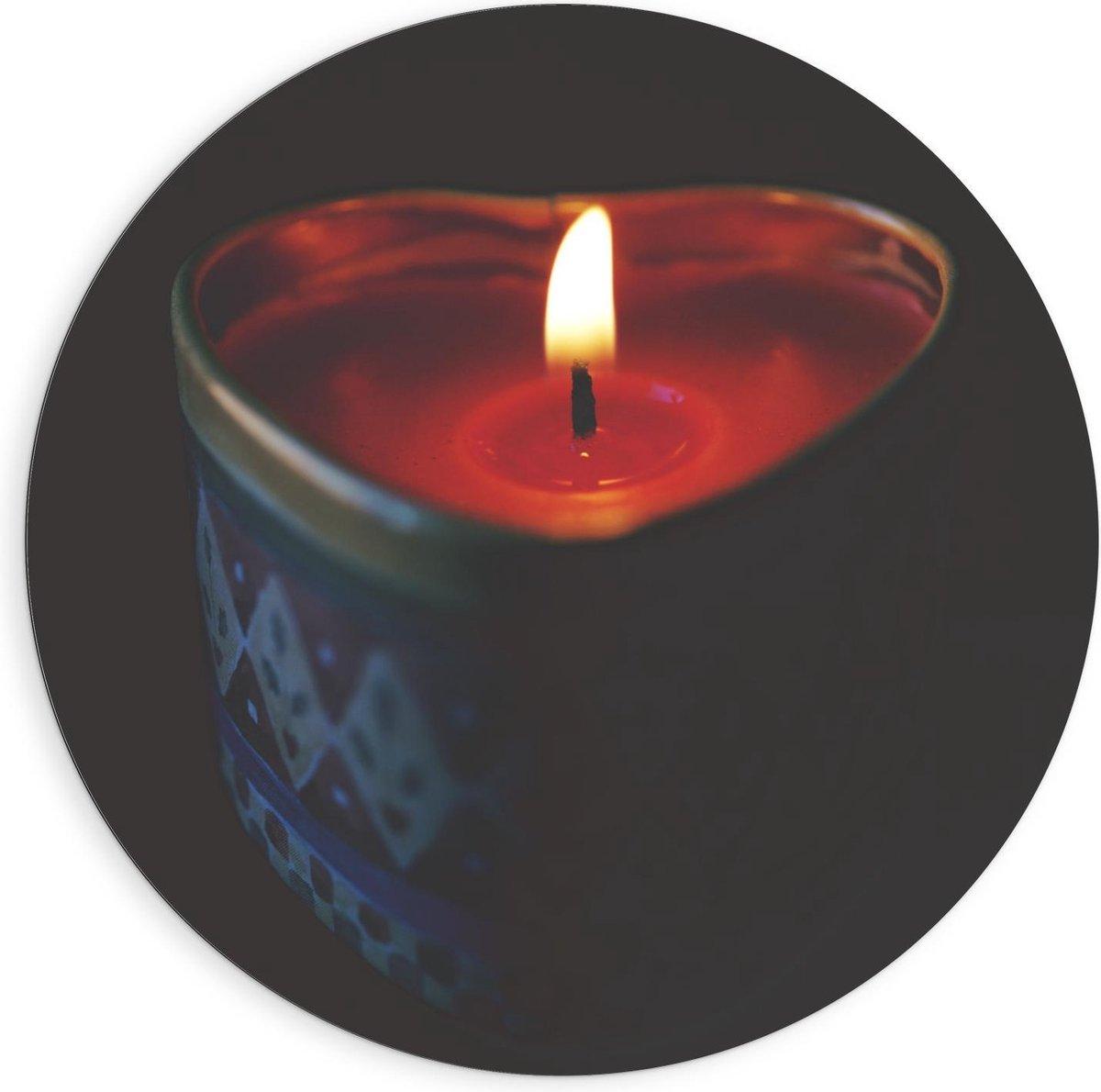Dibond Wandcirkel - Hartvormig Waxinelichtje  - 90x90cm Foto op Aluminium Wandcirkel (met ophangsysteem)