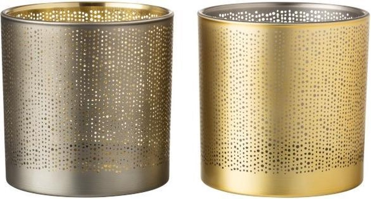 Waxinelichthouder met Spikkels in Goud en Zilver – Set van 2 - J-Line